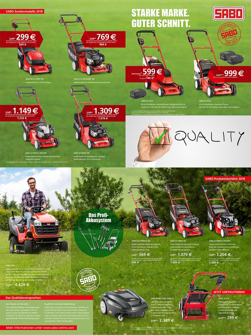 Sabo Werbe Aktion für Profi-Rasenmäher