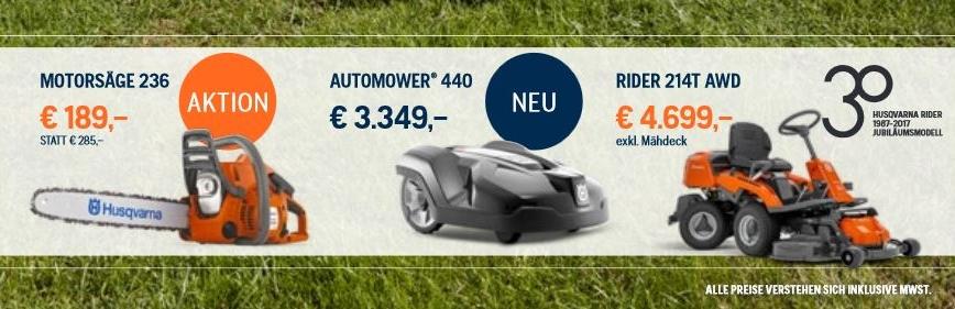 Unsere aktuelle Werbe Aktion für Kettensägen,  Automower und Rider