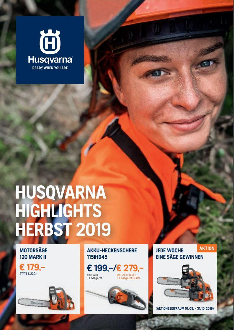 Motorsägen-Aktion Herbst 2019 - Winter 2020 Husqvarna