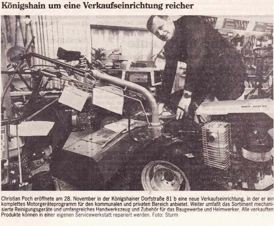 Motorgeraete Poch - Eröffnung Neubau - Zeitungsartikel