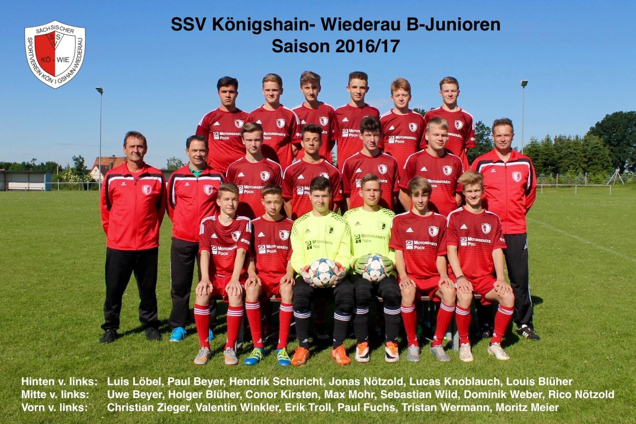 "Sponsor ""Motorgeräte Poch"" - Adidas Trikotsatz B-Junioren des SSV Königshain-Wiederau (Landesklasse 2016/2017)"